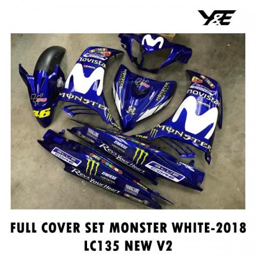 FULL COVER SET MONSTER WHITE-2018 LC135 NEW V2 - Y&E Bikers